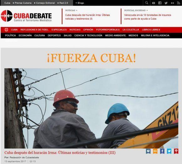 Portada de Cubadebate del 14 de septiembre de 2017