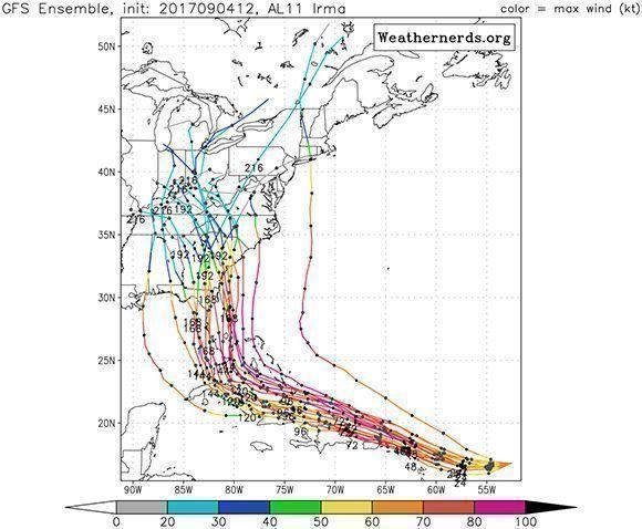 Estas son las trayectorias más probables para el huracán Irma según el Modelo Global (GFS). Imagen: GFS.