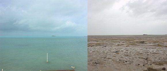 Impresionante imagen nos llega desde Bahamas. Este el antes y el después de una playa donde el huracán Irma se llevó el agua. Foto: @elPie/ Twitter.
