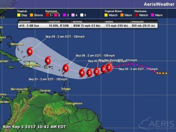Irma se fortaleció en su ruta hacia las Antillas menores y volvió hoy a categoría 3