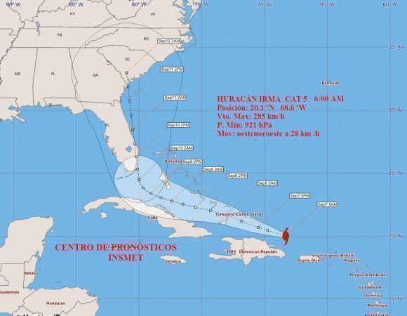 Desde el mediodía de hoy jueves iniciarán afectaciones a Cuba del huracán Irma