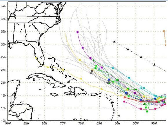 Probable cono de trayectoria de Irma. Fuente: NOAA