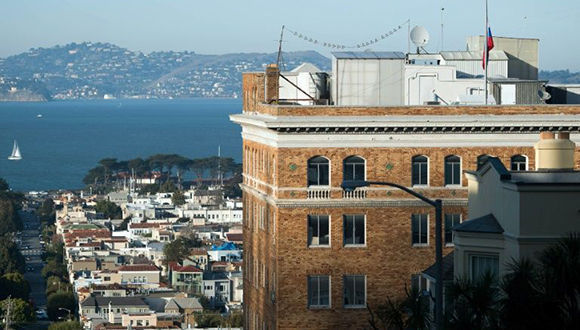 Edificio del consulado general de Rusia en la ciudad californiana de San Francisco. Foto: AFP.