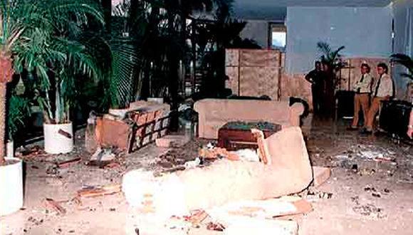 Así quedó el lobby del Hotel Copacabana luego de la explosión.