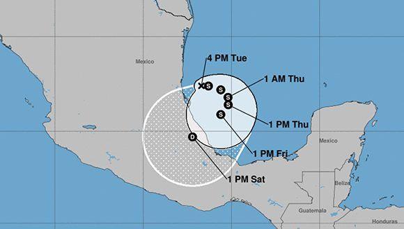 Todo parece indicar que la depresión tropical número 13 solo afectará a México. Imagen: NOAA.