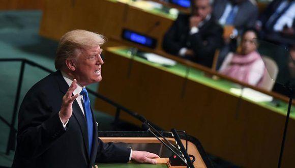 Donald Trump reiteró que no eliminará bloqueo a Cuba en la Asamblea General de la ONU. Foto: Jewel Samad / AFP