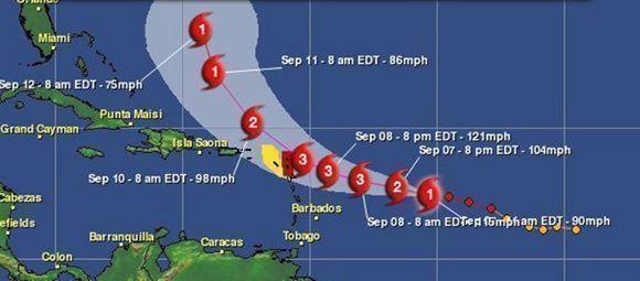 Irma ya arrasó la parte norte del arco de las Antillas Menores y José podría azotar esos mismos territorios este fin de semana como categoría tres. Imagen: Aeris Weather.