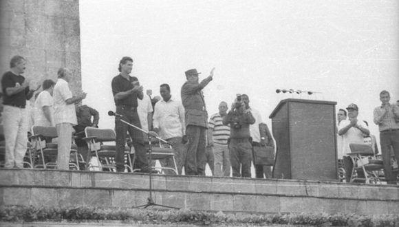 El Comandante en Jefe Fidel Castro Ruz le habla al pueblo de Santa Clara el 30 de septiembre de 1996. Foto: Cortesía PCC Villa Clara