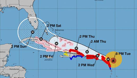 Irma podría estar afectando el territorio cubano desde la madrugada del próximo viernes. Imagen: NOAA.