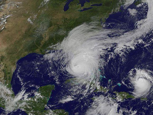Posición de los huracanes Irma y José a las 17:35 de hoy. Imagen: GOES/ Vía INSMET.