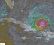 Así llegarán los nublados de Irma al oriente de Cuba este viernes en la tarde. Imagen: Windy.