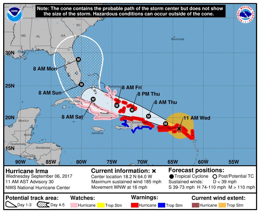 Irma afectará en las próximas 48 a 72 horas la región oriental de Cuba. Imagen: NOAA.