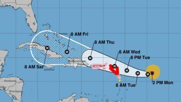 El cono de trayectoria del Centro Nacional de Huracanes de los Estados Unidos (NOAA) ubica al huracán Irma en la proximidades del oriente cubano para el próximo viernes 8 de septiembre. Imagen: NOAA.
