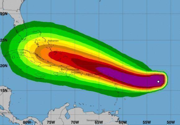 Posible evolución de la zona con los vientos de Irma. Imagen: NOAA.