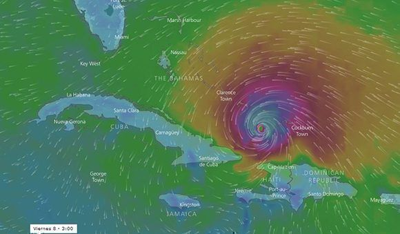 Posible influencia de los vientos de Irma sobre Cuba este viernes en la tarde. Imagen. Windy.