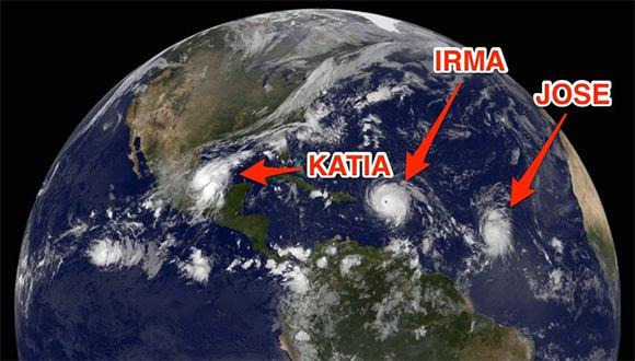 Dos huracanes categoría uno e Irma, categoría cinco, coexisten en esta zona del planeta. Imagen: GOES.