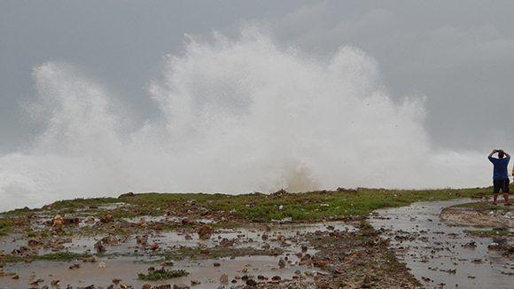 En zonas del litoral, donde no existen viviendas, el agua del mar penetró cientos de metros. Foto: Danier Ernesto González/ Cubadebate.