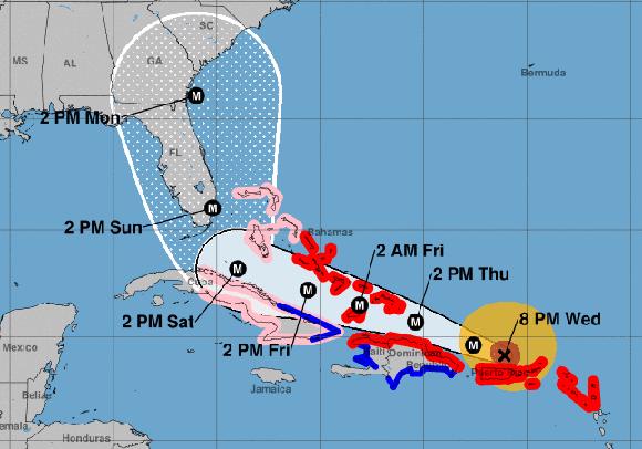 El viernes en la tarde el ojo del huracán Irma estará al norte de la provincia de Holguín. Imagen: NOAA.