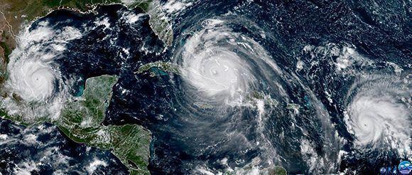 Katia cerca de México, Irma al norte de Cuba y José próximo a las Antillas Menores. Foto: NASA.