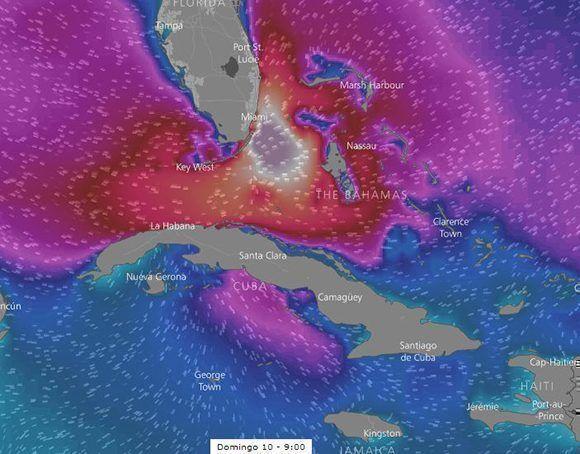 El domingo las inundaciones costeras pueden extenderse hacia el occidente de Cuba. Imagen: Windy/ Modelo ECMWF.