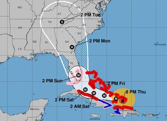 Cada vez, los pronósticos sitúan a Irma más al norte de Cuba. Imagen: NOAA.