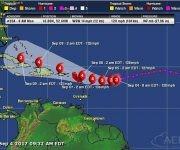 Pronósticos del portal especializado Aeris Weather para la evolución de Irma en cuanto a trayectoria e intensidad. Imagen: Aeris Weather.