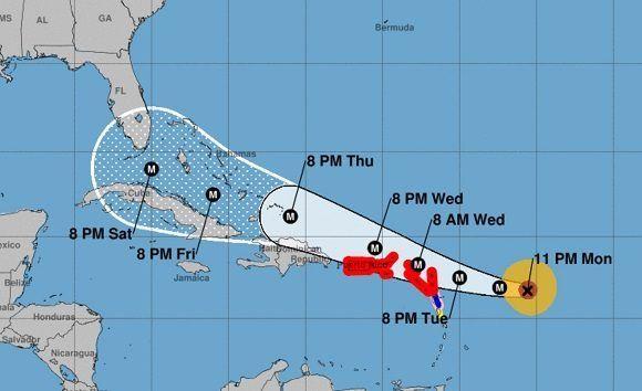 El cono de trayectoria del Centro Nacional de Huracanes de los Estados Unidos (NOAA) ubica al huracán Irma en la proximidades del oriente cubano para el próximo viernes 8 de septiembre. Modelo de este lunes a las 11pm. Imagen: NOAA.