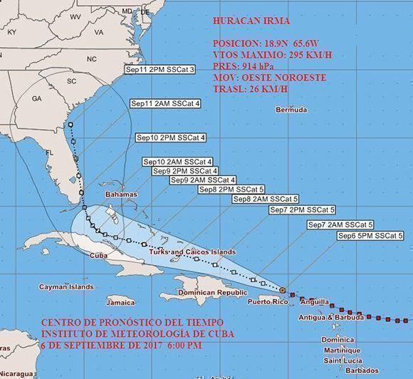 Según este modelo del Instituto Cubano de Meteorología, el domingo 10 de septiembre el huracán Irma estará sobre la Florida. Imagen: INSMET Cuba.