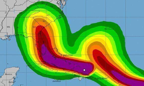 Posible influencia de los vientos de Irma. El color malva significa los vientos máximos. Imagen: NOAA.
