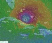 Posible posición de Irma el viernes a las 19:00 horas y la influencia de sus vientos. El radio con vientos de tormenta tropical es de 280 km. Imagen:  Windy/ Modelo ECMWF.