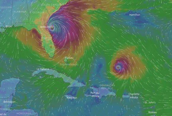 Esta es la posible ubicación de Irma y José el lunes 11 de septiembre. Imagen: Windy/ Modelo ECMWF.