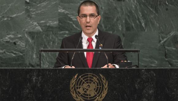 El ministro de Exteriores de Venezuela, Jorge Arreaza, habla ante la Asamblea General de la ONU. Foto: EFE.