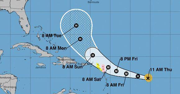 Hasta el momento los modelos de trayectorias predicen que el huracán José no afectará a Cuba. Imagen: NOAA.
