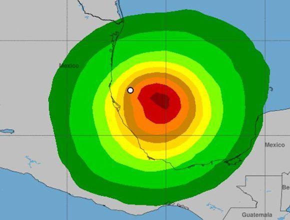 Es probable que la depresión tropical número 13 se convierta en la tormenta tropical Katia en las próximas horas. En la imagen se observa la zona que será afectada por sus vientos. Fuente: NOAA.