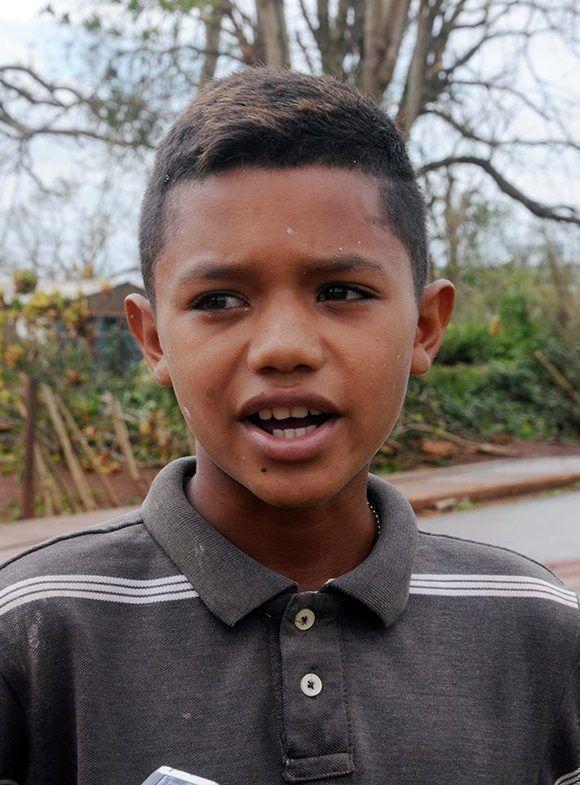 Lyam Alejandro Barrios Rodríguez, un adolescente de solo 12 años de la localidad de Esmeralda. Foto: Orlando Durán Hernández