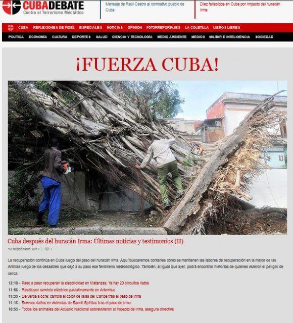 Portada de Cubadebate el 11 de septiembre en la tarde.