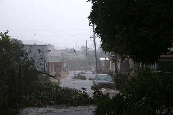 Árboles caídos, objetos en el aire, un oleaje elevado e intensas lluvias son las imágenes que arroja el paso del huracán Irma en Puerto Rico. Foto: AP.