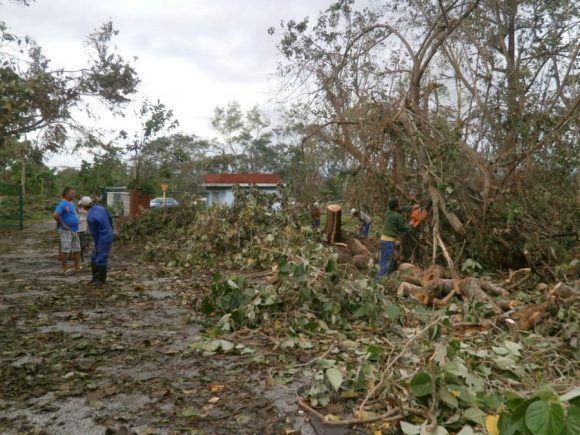 La recogida de los desechos sólidos ha constituido una prioridad para los trabajadores de las instalaciones afectadas. Foto: Carmen Rodríguez/ Escambray.
