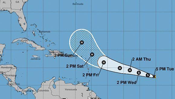 Si los pronósticos se cumplen, José no afectará a Cuba pues debe cambiar su rumbo hacia el norte antes de llegar a la isla La Española. Imagen: NOAA.