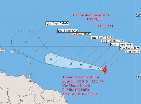 Posible trayectoria de la tormenta tropical José. Imagen: INSMET Cuba.