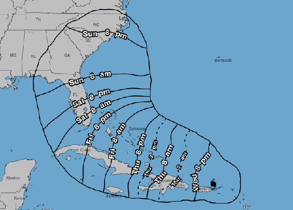 El diámetro del huracán Irma es de 370 km, por tanto toda Cuba debe estar alerta a la evolución de este fenómeno. Imagen: NOAA.