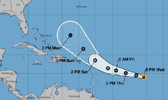 Se espera que el huracán José no afecte a Cuba, pero sí puede azotar la parte norte del arco de las Antillas Menores y a Puerto Rico, territorios ya muy afectados por Irma. Imagen: NOAA.