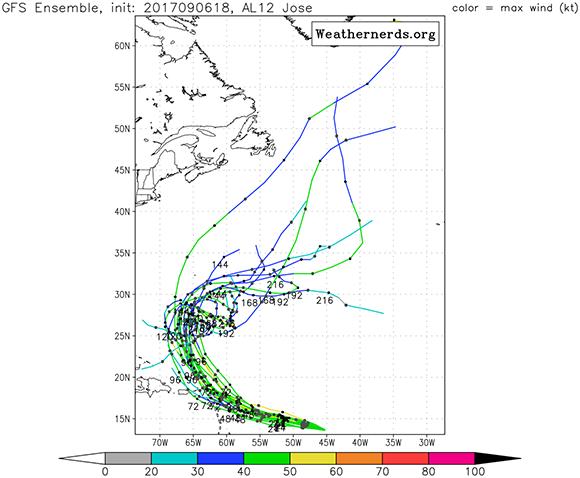 Pronósticos de la trayectoria de José según el Modelo Global. Imagen: GFS/ Vía Weathernerds.