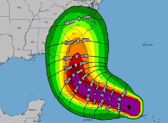 Posible trayectoria y territorios afectados por el huracán Irma. Imagen: NOAA.