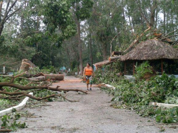 Severas afectaciones sufrió el Zoológico espirituano. Foto: Carmen Rodríguez/ Escambray