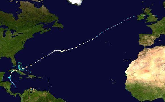 Del Caribe al Reino Unido (como ciclón post-tropical). Trayectoria completa de Lili. Imagen de Wikipedia.