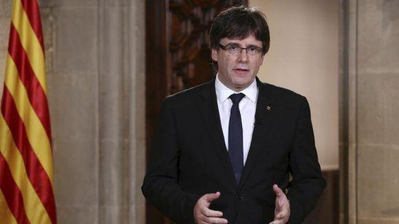 Puigdemont en su alocución de hoy. Foto tomada de La Vanguardia.