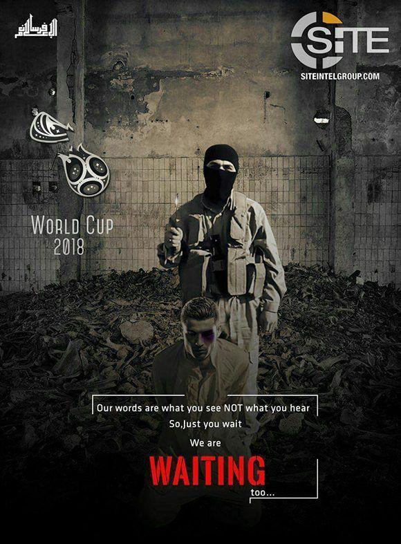 El Estado Islámico publica este montaje para amenazar el Mundial de Rusia-2018 y a la estrella portuguesa, Cristiano Ronaldo. Imagen: @siteintelgroup/ Twitter.