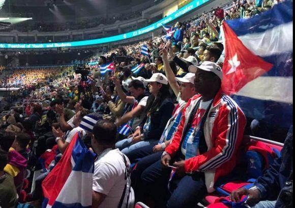 La delegación cubana durante la inauguración del XIX Festival Mundial de la Juventud y los Estudiantes. Foto: Juventud Rebelde