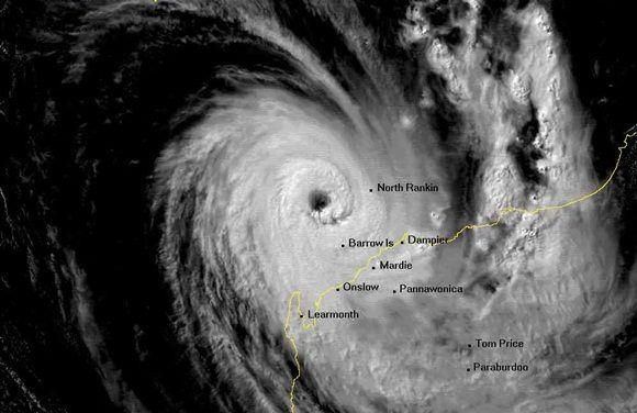 Ciclón tropical severo Olivia el 10 de abril de 1996, poco antes de golpear a la isla de Barrow, Australia. Imagen de satélite cortesía de la Agencia Meteorológica de Japón.